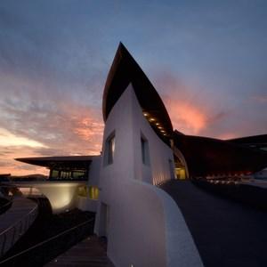 Yacht Club entrance at dusk