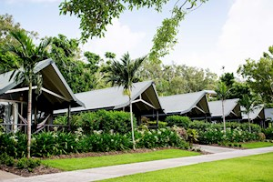 Beautiful tropical gardens at Hamilton Island's Palm Bungalows
