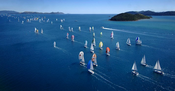 Aerial view of sailing fleet Audi Hamilton Island Race Week