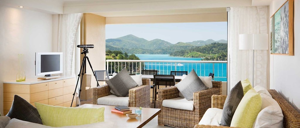 2 bedroom hotel suites. Living area in a two bedroom terrace suite  Hamilton Island accommodation Reef View Hotel 2 Bedroom Terrace Suite Accommodation